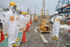 Members of a Fukushima prefecture panel inspect the construction site of a shore barrier near the No.1 and No.2 reactor building of the tsunami-crippled Fukushima Daiichi nuclear power plant
