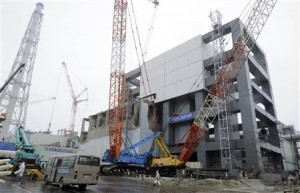 File photo of a general view of the cover installation for the spent fuel removed from the cooling pool at the No.4 reactor building TEPCO tsunami-crippled Fukushima Daiichi nuclear power plant in Fukushima prefecture